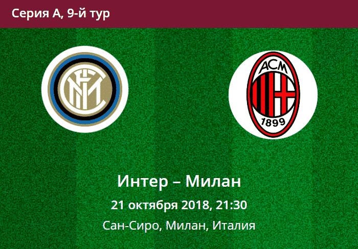 Прогноз на матч серии А Интер - Милан 21.10.2018