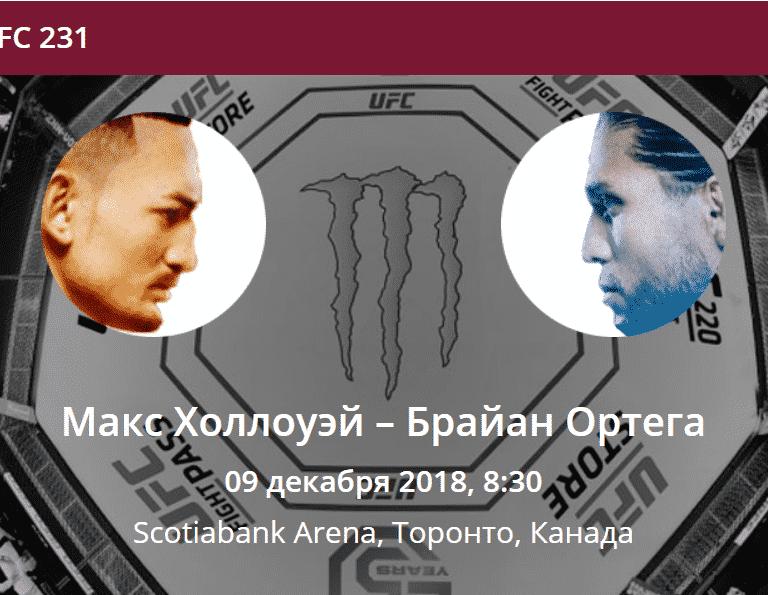 прогноз на бой ufc 231 Макс Холлоуэй - Брайан Ортега 08.12.2018
