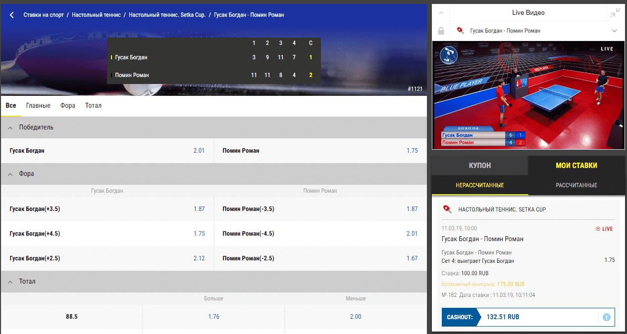Кэшаут в теннисе в Париматч