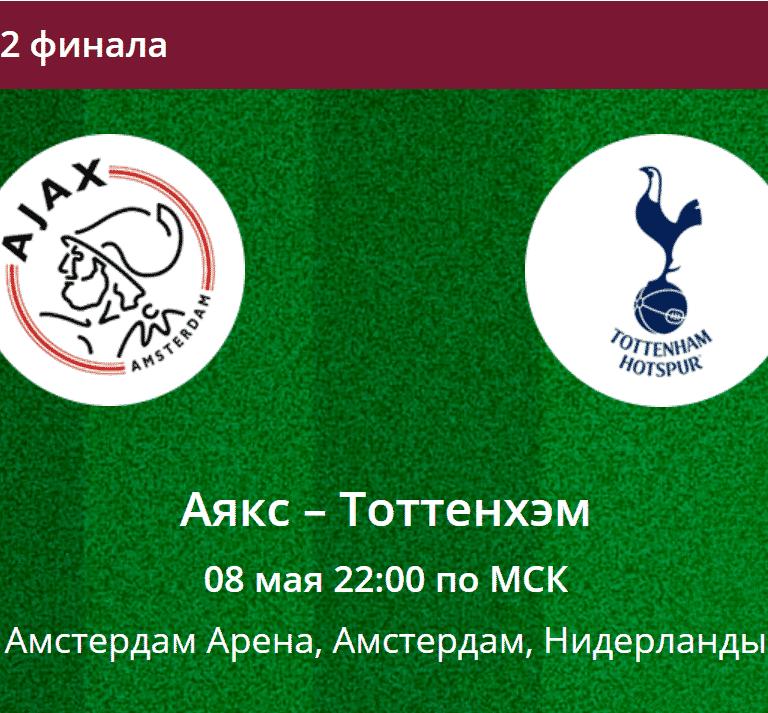 Прогноз на матч 1/2 финала ЛЧ Аякс - Тоттенхэм 08 мая 2019