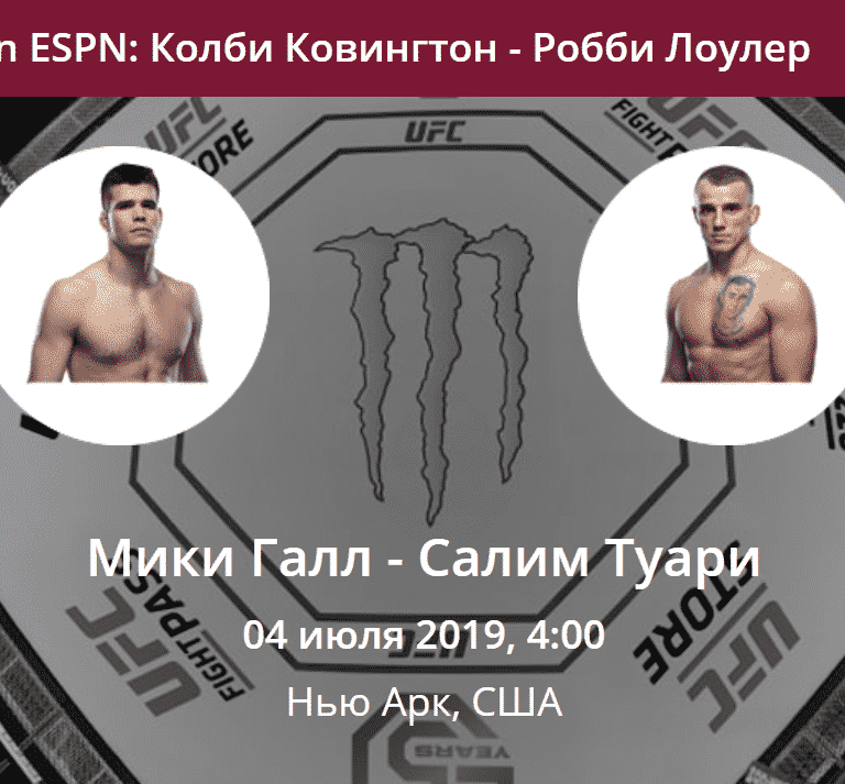 Мики Галл - Салим Туари UFC on ESPN: Ковингтон - Лоулер