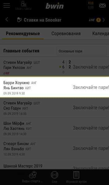 Ставка на снукерный поединок в БК Bwin.ru