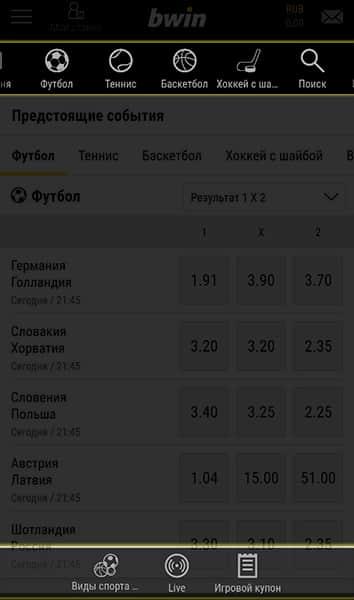 События для ставки в БК Bwin.ru