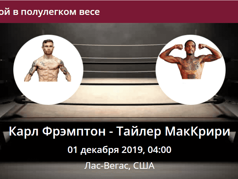 Карл Фрэмптон - Тайлер Макрири прогноз на бой в полулегкой весовой категории