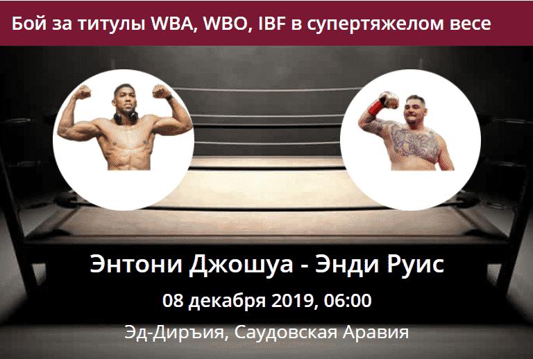 Прогноз на бой за титулы WBA,WBO, IBF в супертяжелом весе между Энтони Джошуа и Энди Руисом