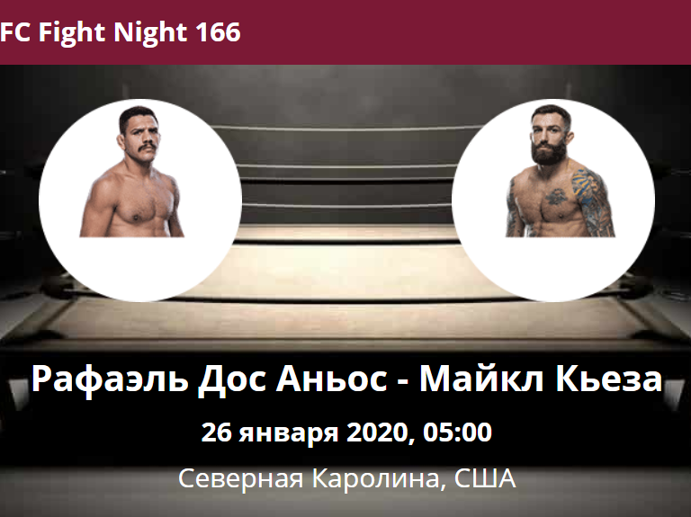 Рафаэль Дос Аньос - Майкл Кьеза UFC Fight Night 166